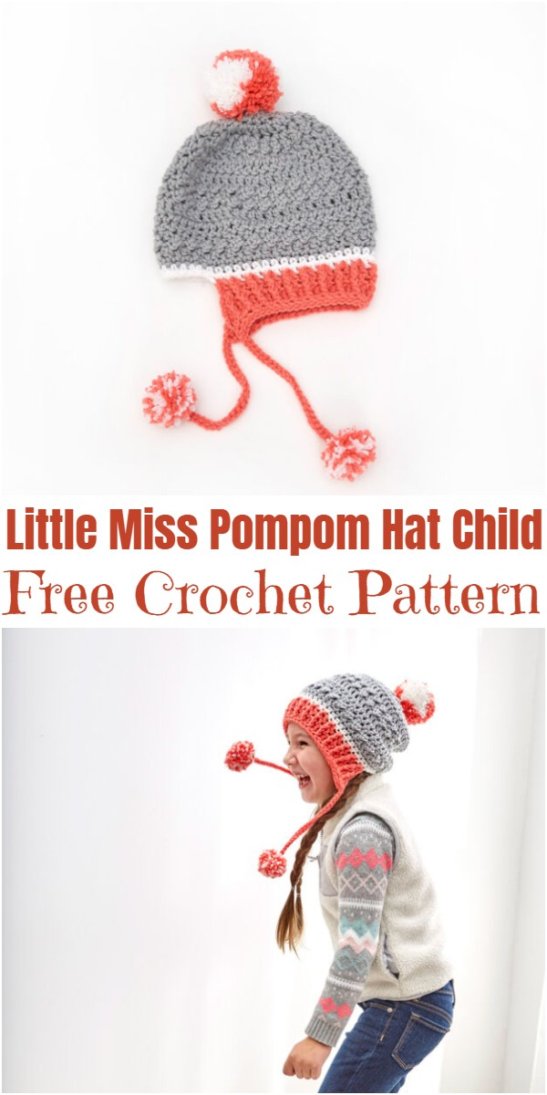 Crochet Little Miss Pompom Hat Child