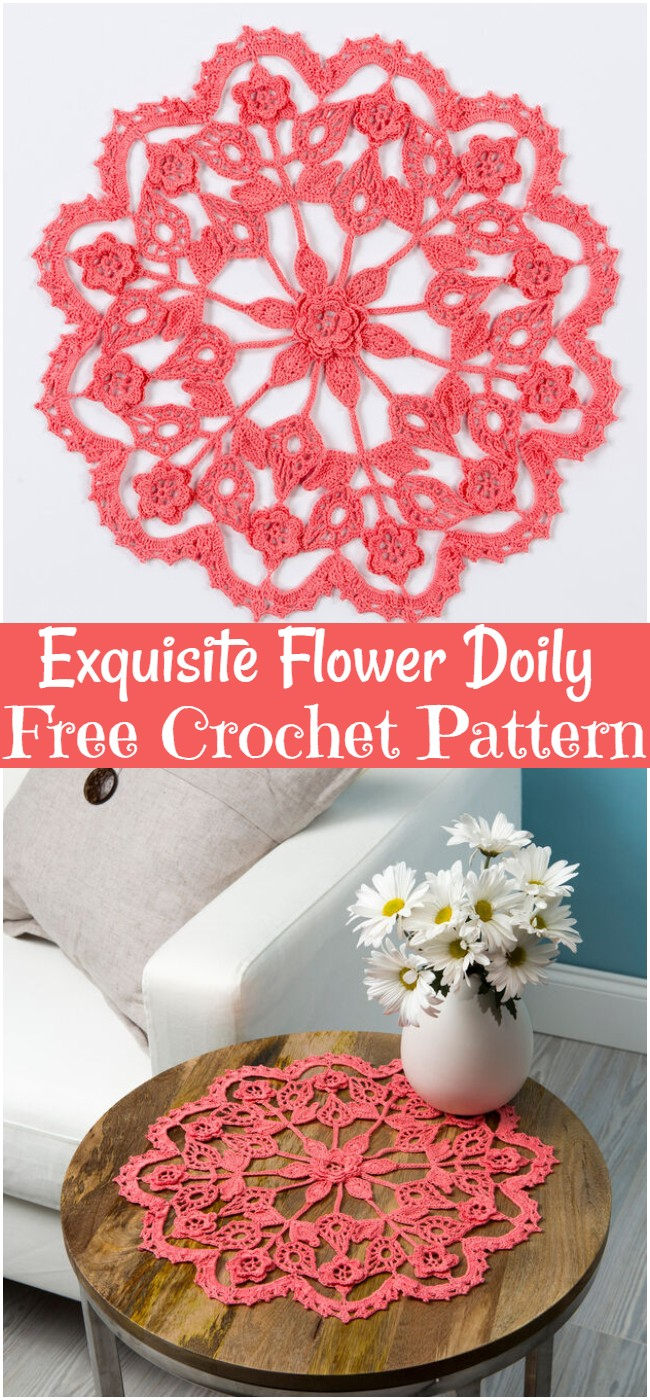 Exquisite Flower Doily Free Crochet Pattern