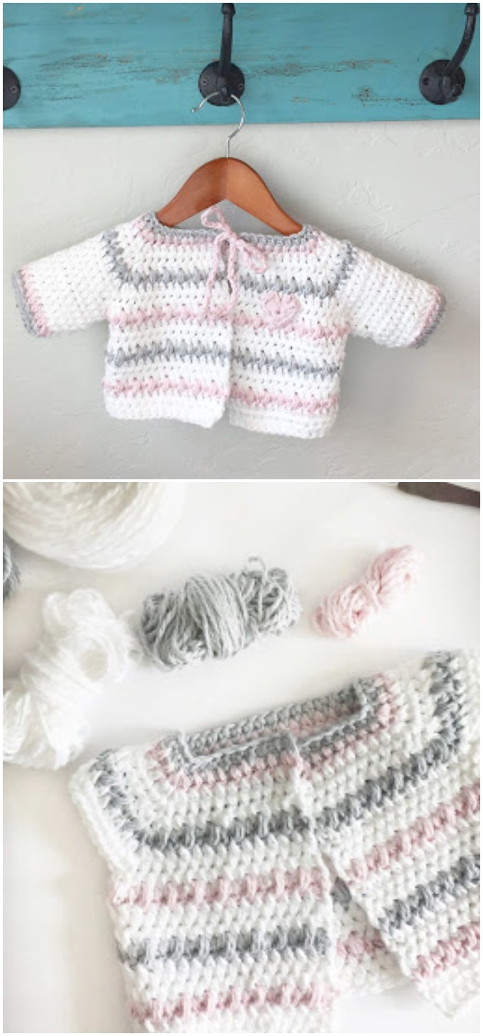 Crochet Baby Sweater in White, Pink and Gray