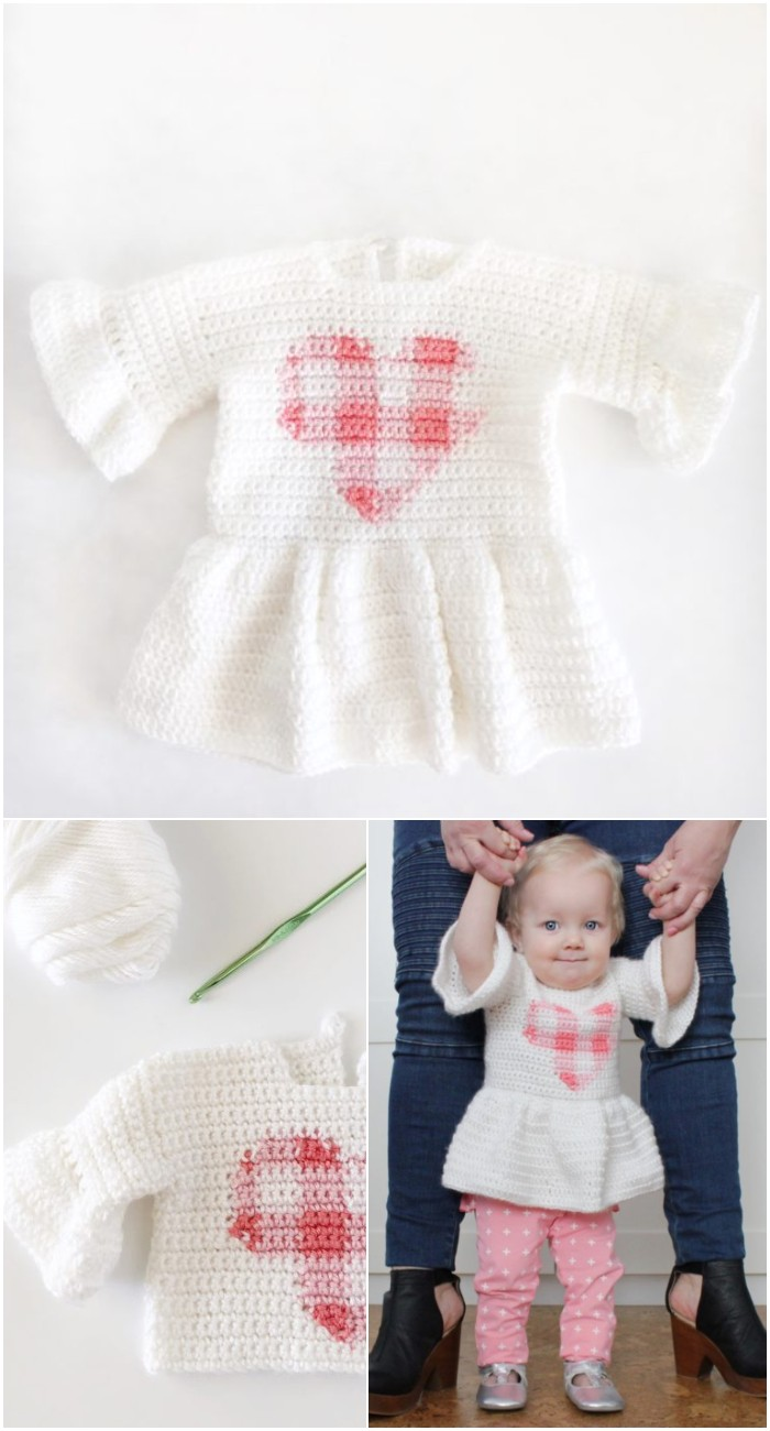 Crochet Gingham Heart Baby Sweater