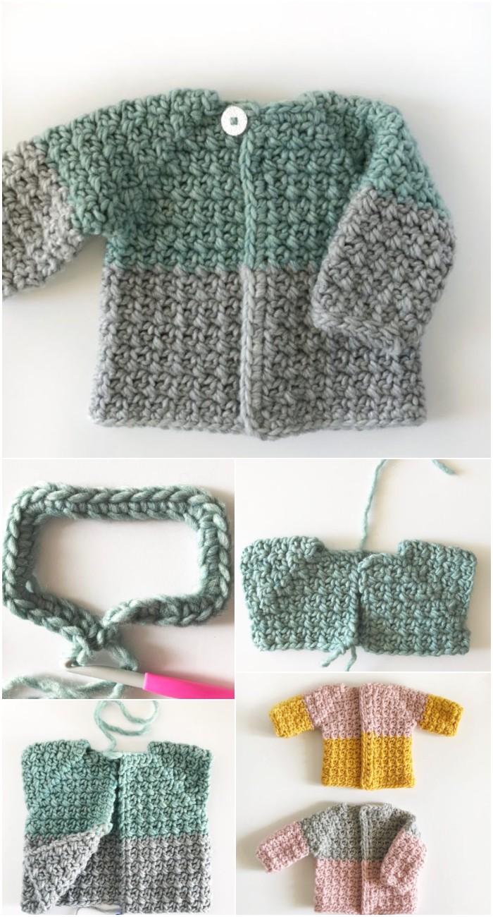 Crochet Mesh Stitch Baby Sweater