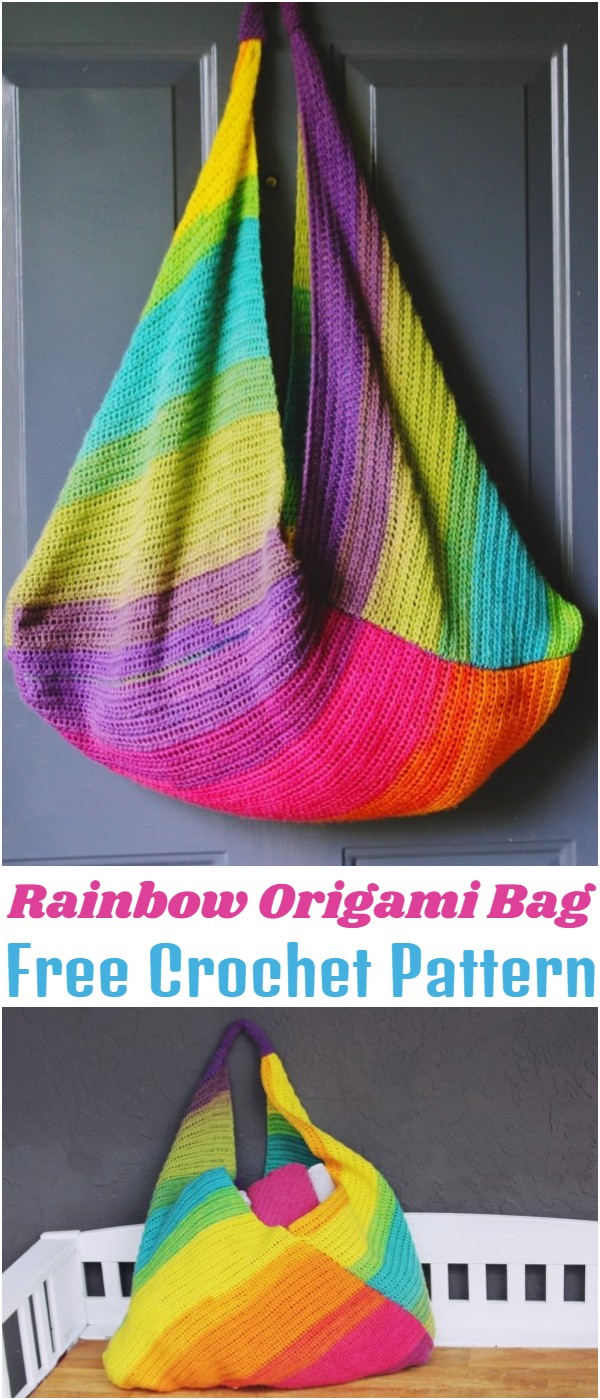 Crochet Rainbow Origami Bag