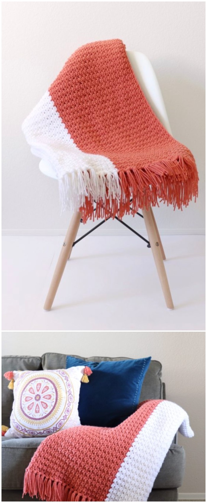 Crochet Terra Cotta Throw