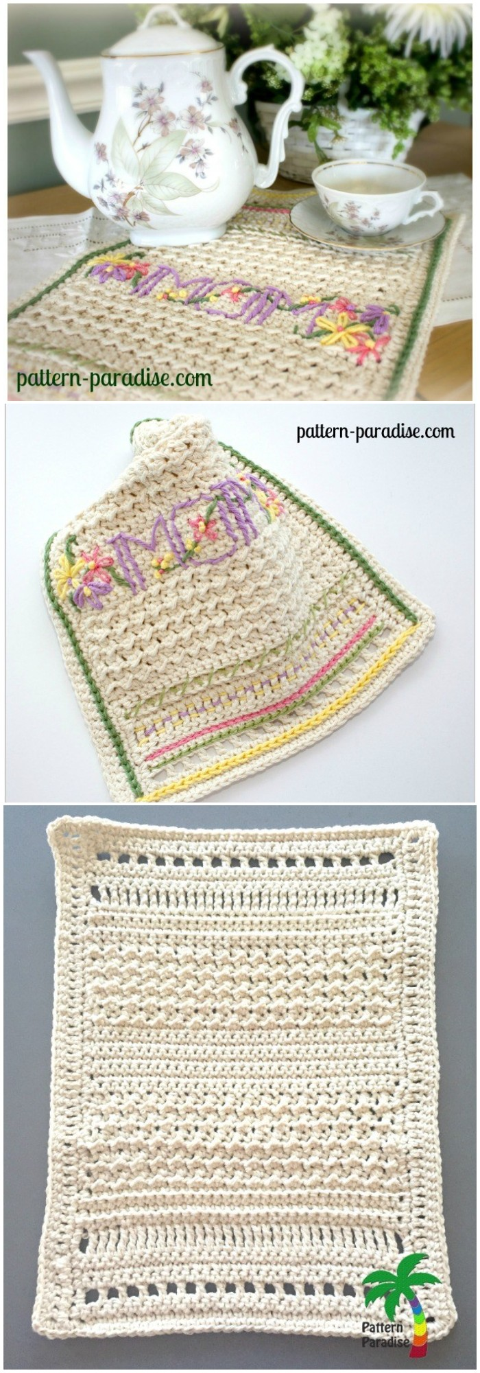 FREE CROCHET PATTERN  A NEW DISHTOWEL & EMBELLISHMENT