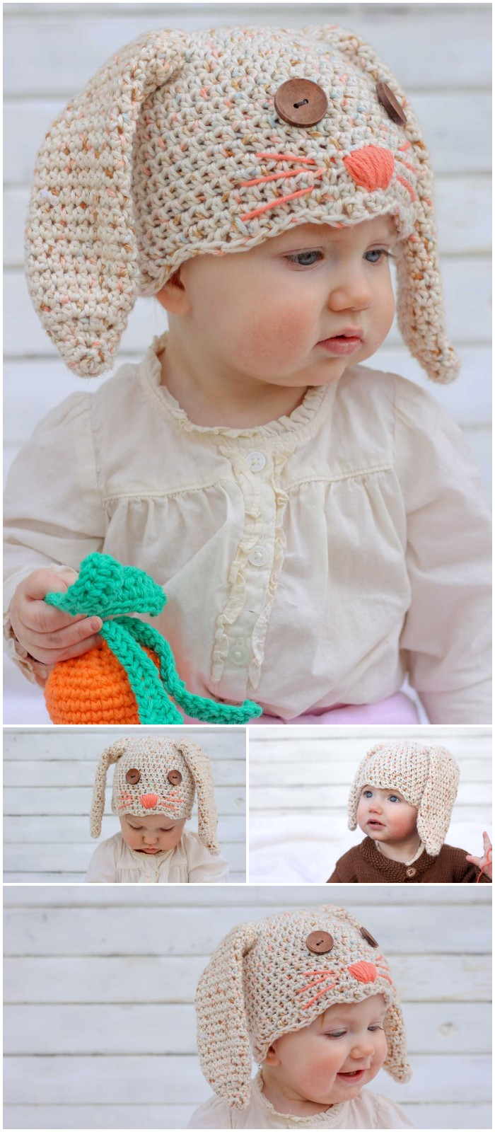 Free Crochet Bunny Hat Pattern (Newborn-toddler)