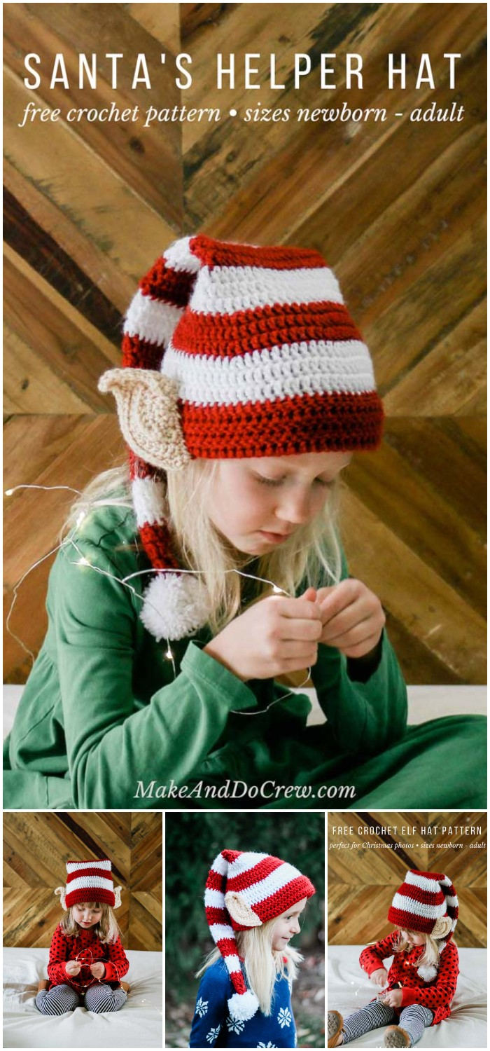 Free Crochet Elf Hat Pattern (With Ears!)  Baby adult Sizes