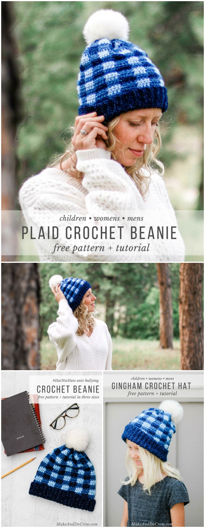 Free Crochet Plaid Hat Pattern For Kids, Women + Men