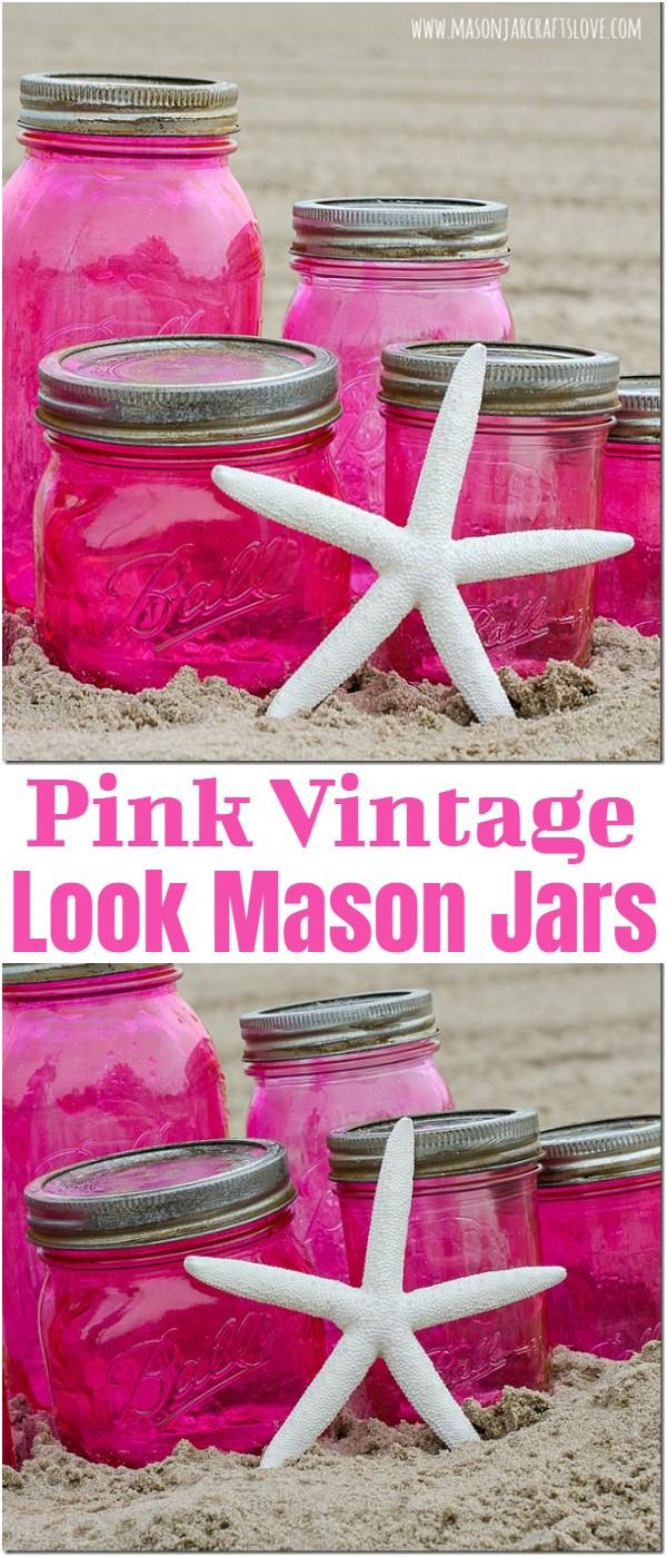 Pink Vintage Look Mason Jars