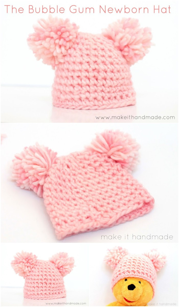 The Bubble Gum Newborn Hat -- Free Pattern
