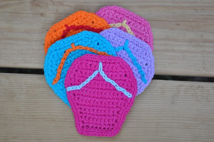 Crochet Some Summertime Flip Flop Coasters