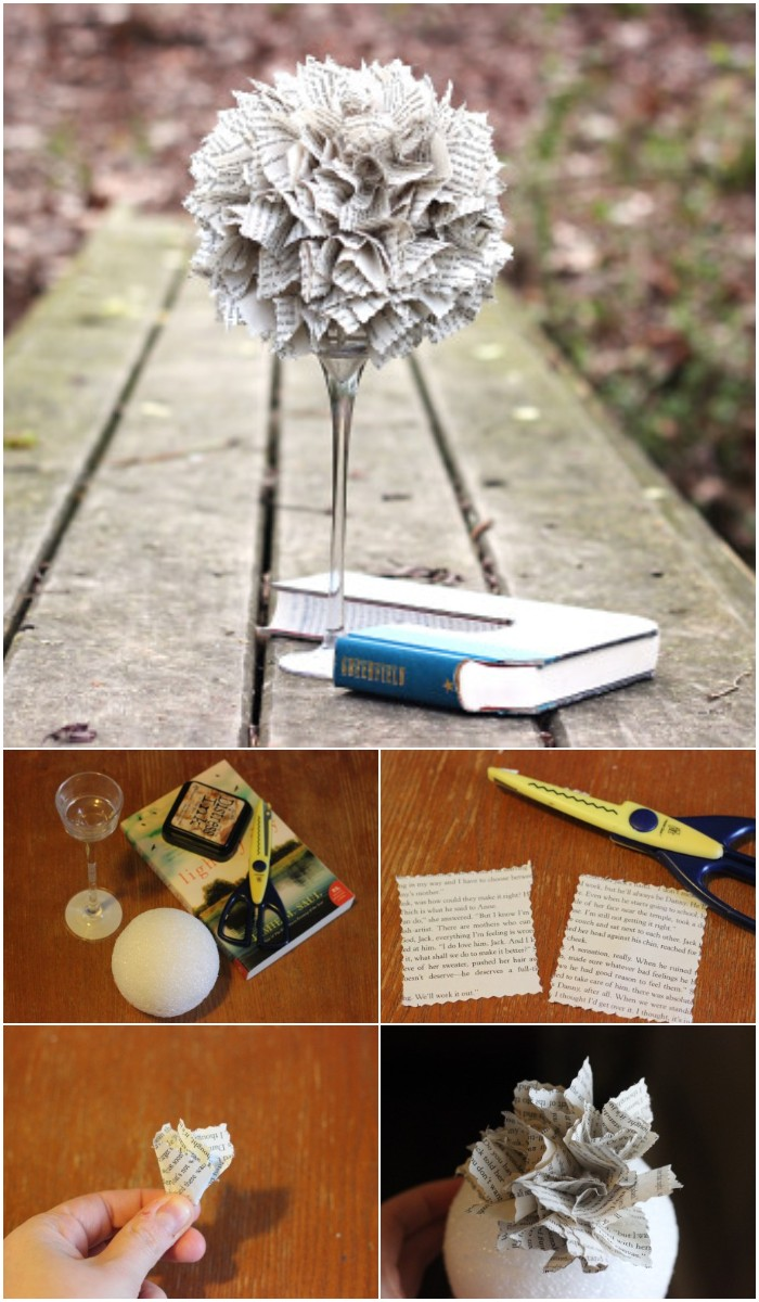 Dollar Store Book Topiary DIY