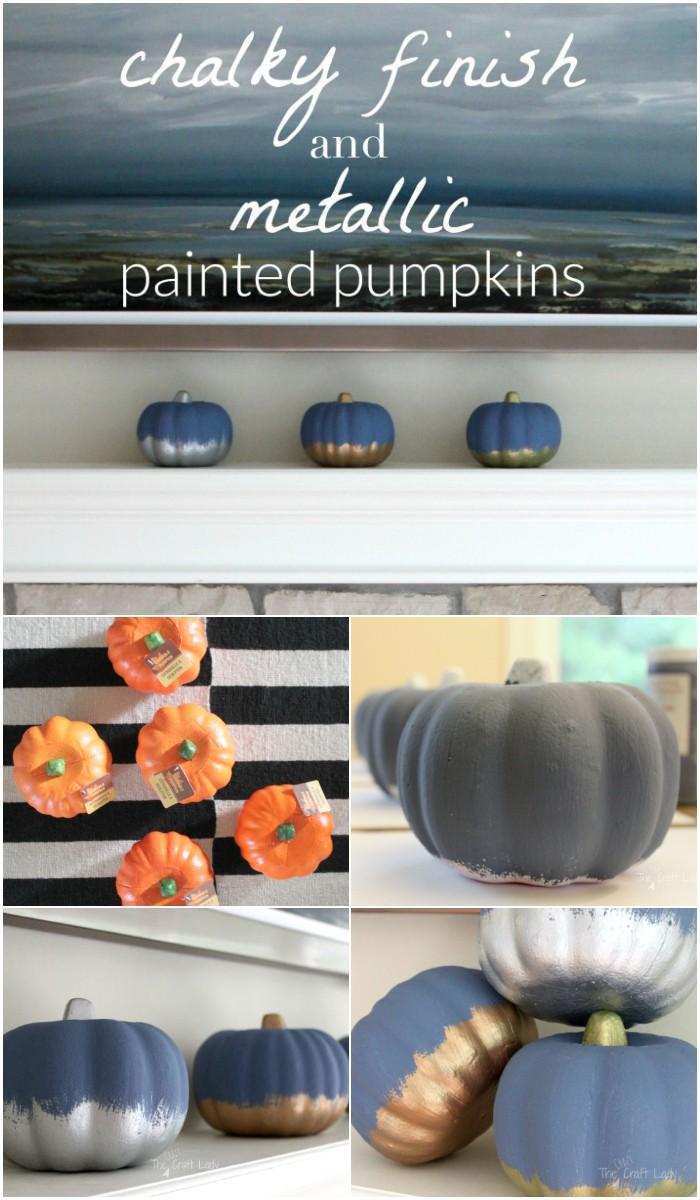 Dollar Store Painted Pumpkins