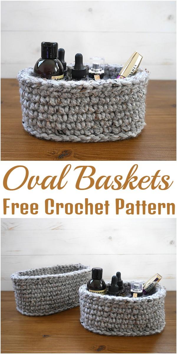 Free Crochet Oval Baskets Pattern