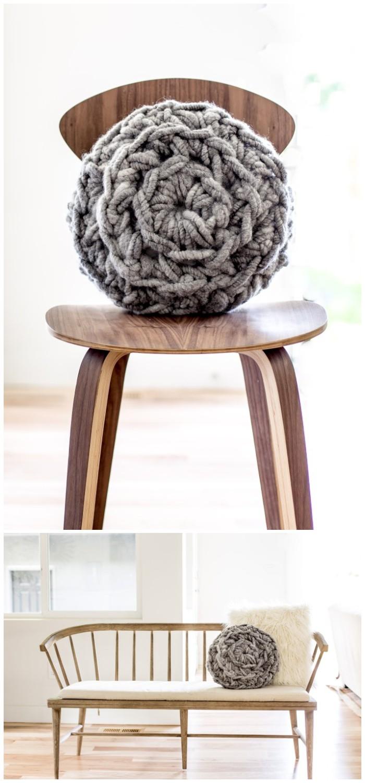 Hand Crochet Round Pillow