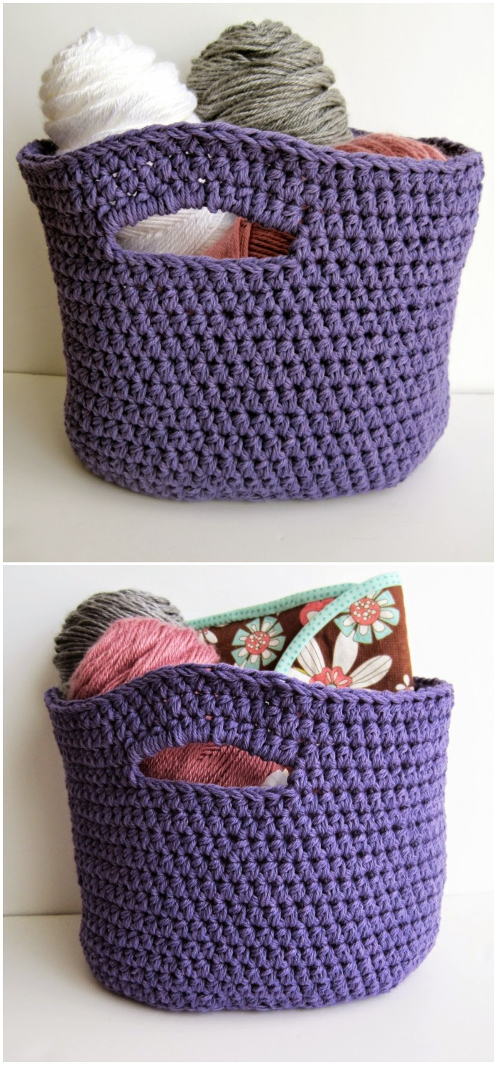 Oval Shaped Crochet Basket with Handles