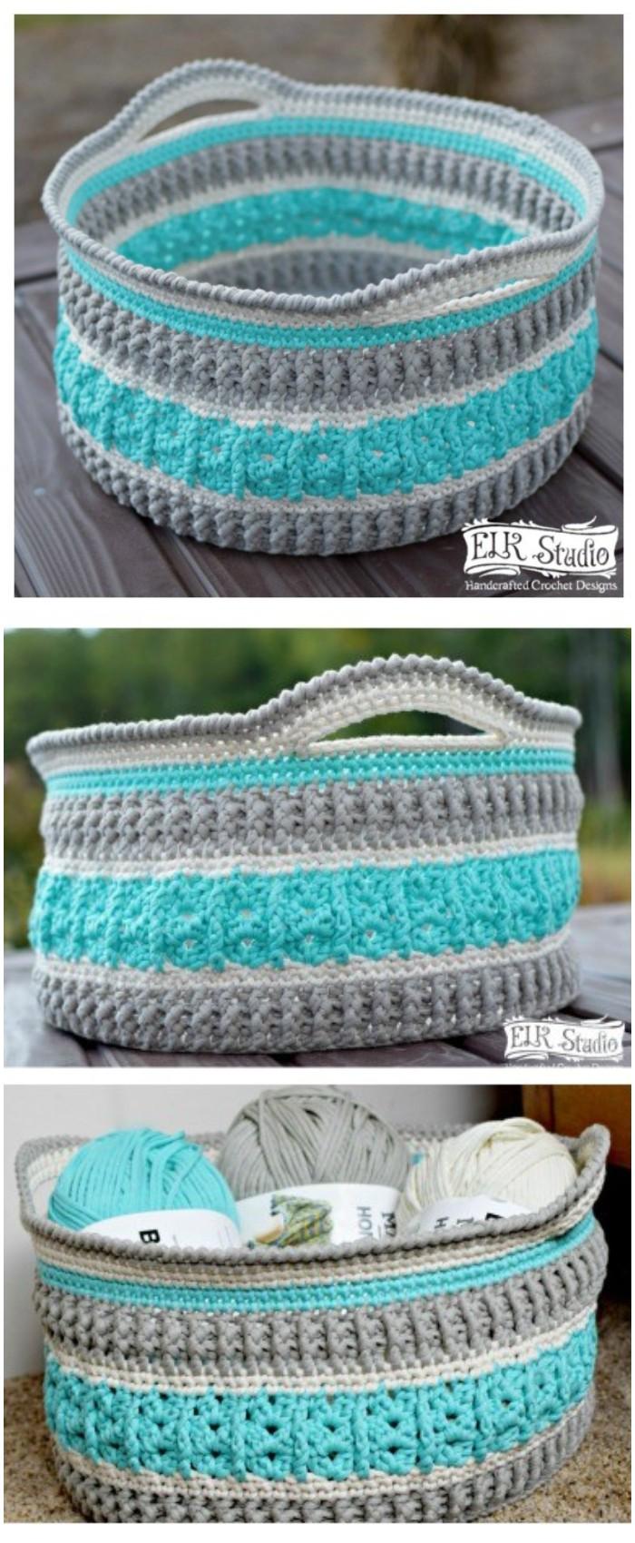 Textured Crochet Basket Free Pattern