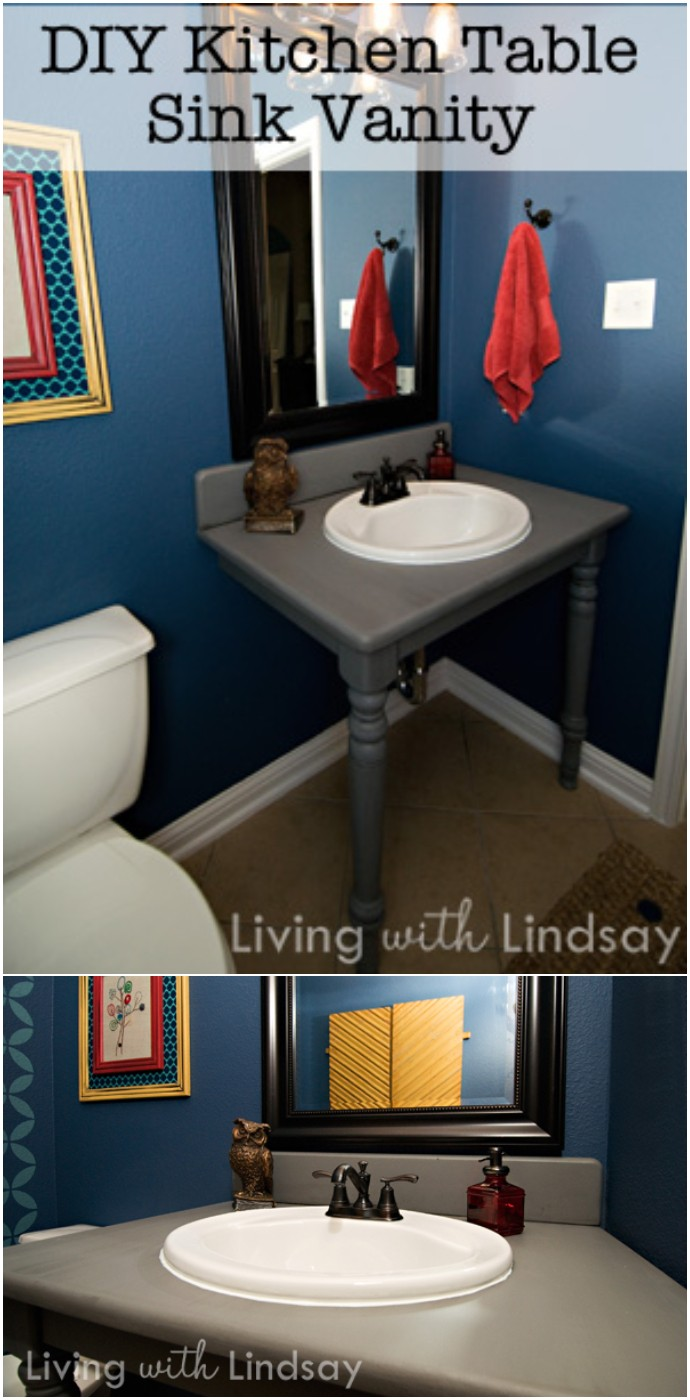 Bathroom Vanity From An Old Dining Table