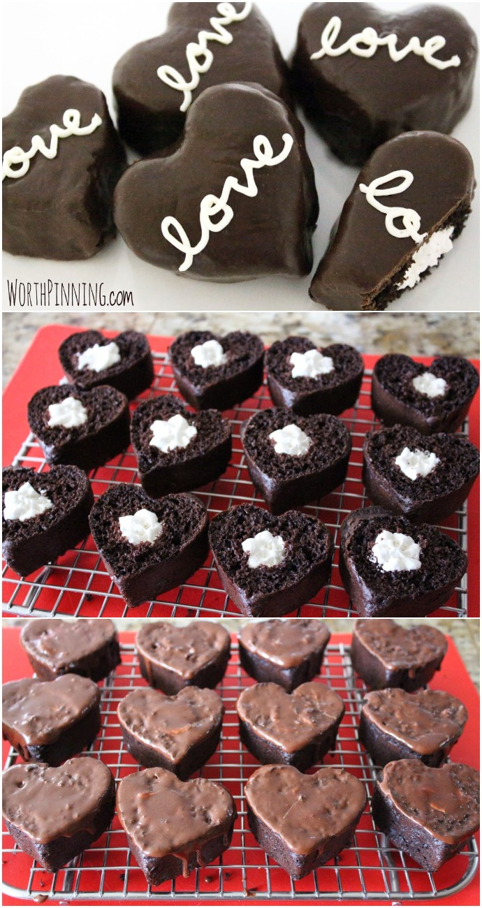 Cream Filled Chocolate Heart-Shaped Cakes