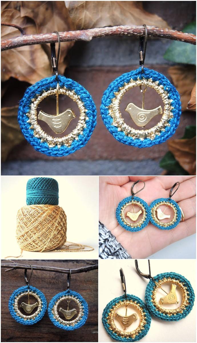 Crochet Bird Earrings