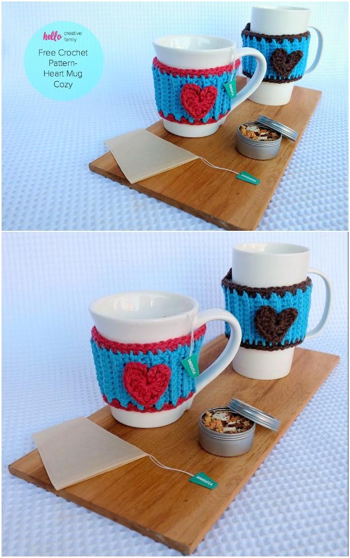 Crochet Heart Mug Cozy Pattern