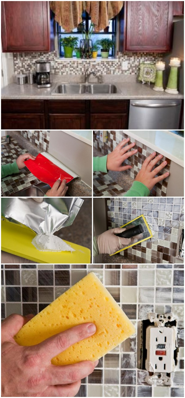 DIY Peel and Stick Backsplash Tile