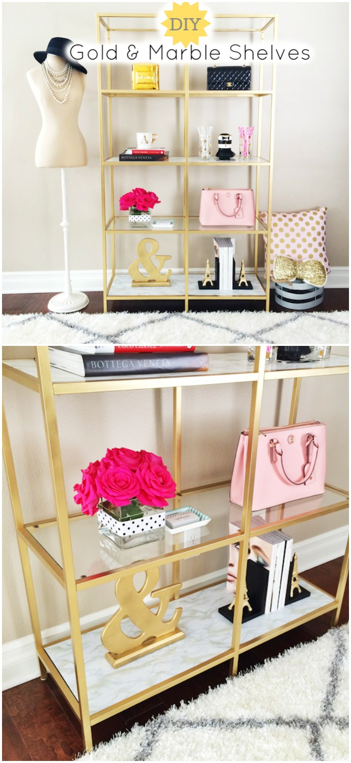 Diy Gold And Marble Shelves