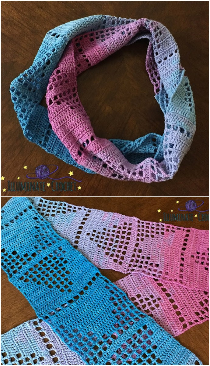 Filet Swatch and Chasing Triangles Scarf
