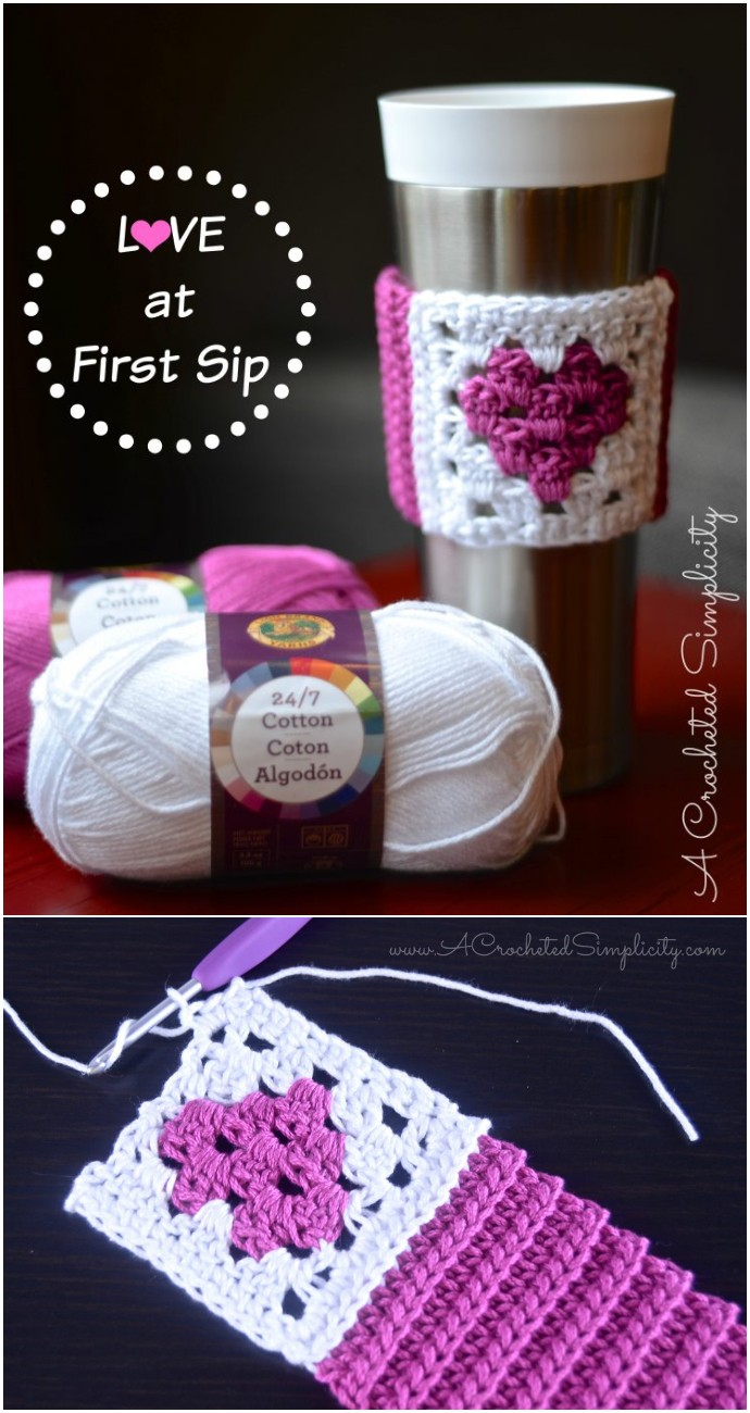 Love At First Sip Coffee Sleeve Valentine's Day Gift pattern