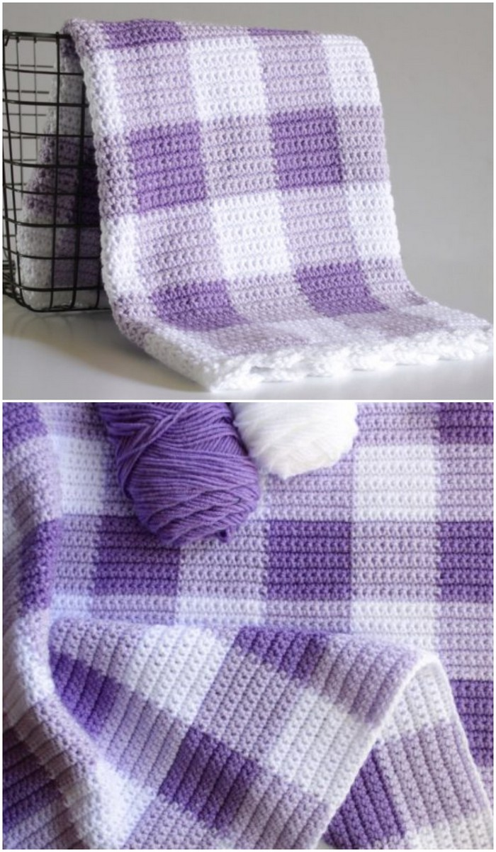 Purple Gingham Baby Blanket