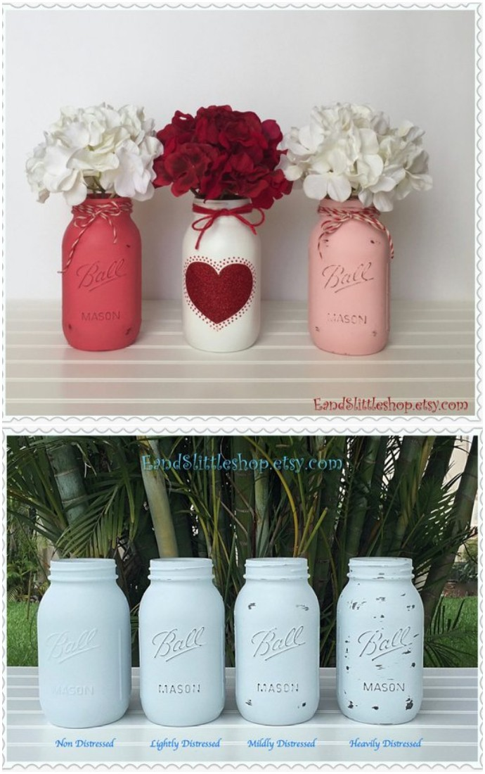 Valentine Mason Jar Centerpiece set