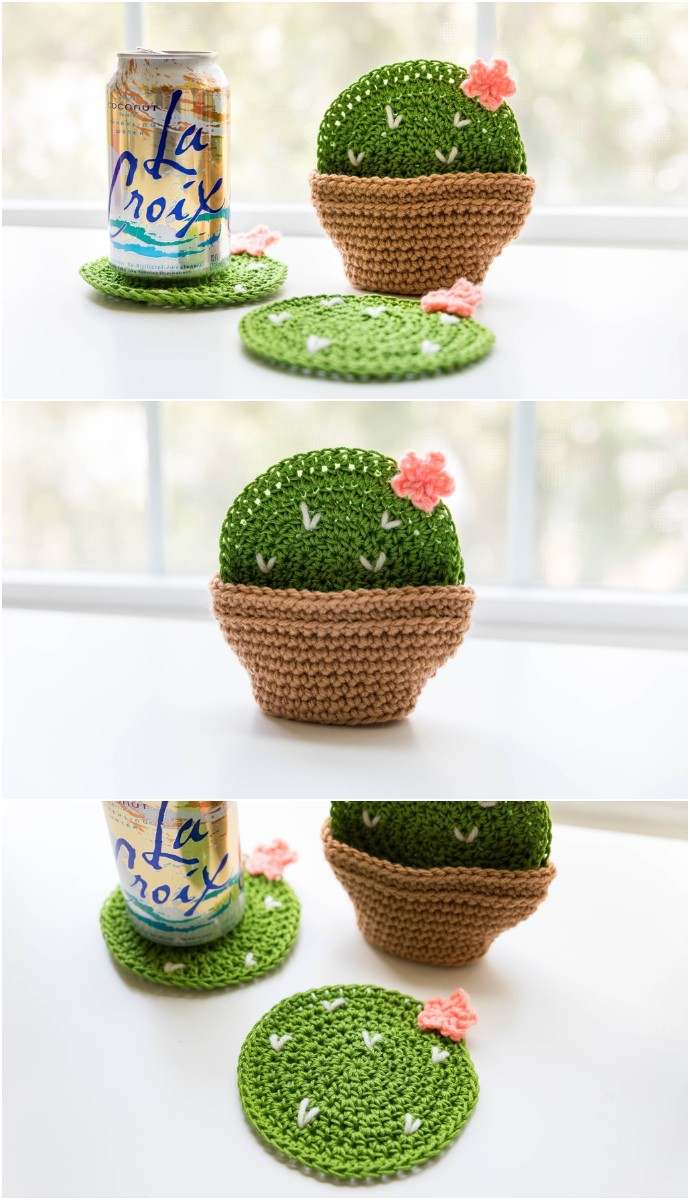 Crochet Cactus Coasters Home Decor Ideas