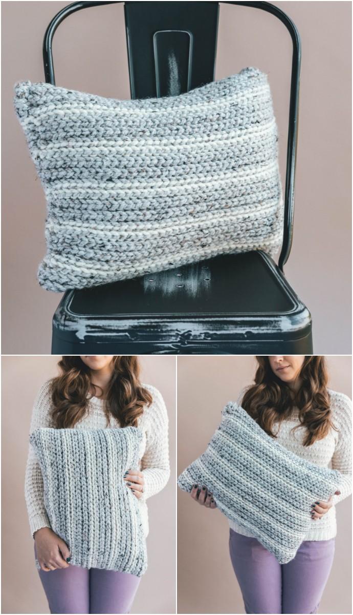 Crochet Knit Look Pillow Home Decor
