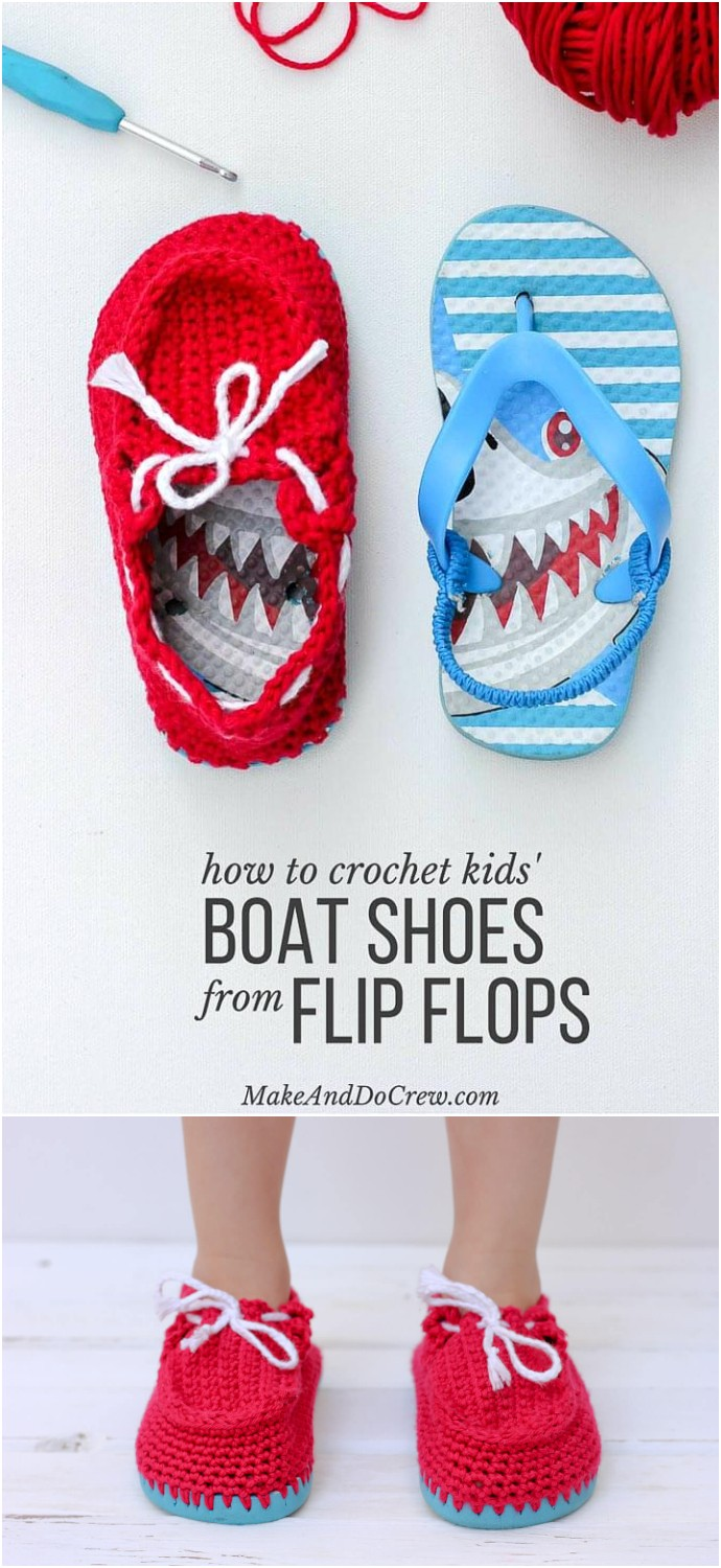 Crochet Toddler Boat Shoe Slippers With Flip Flop Soles