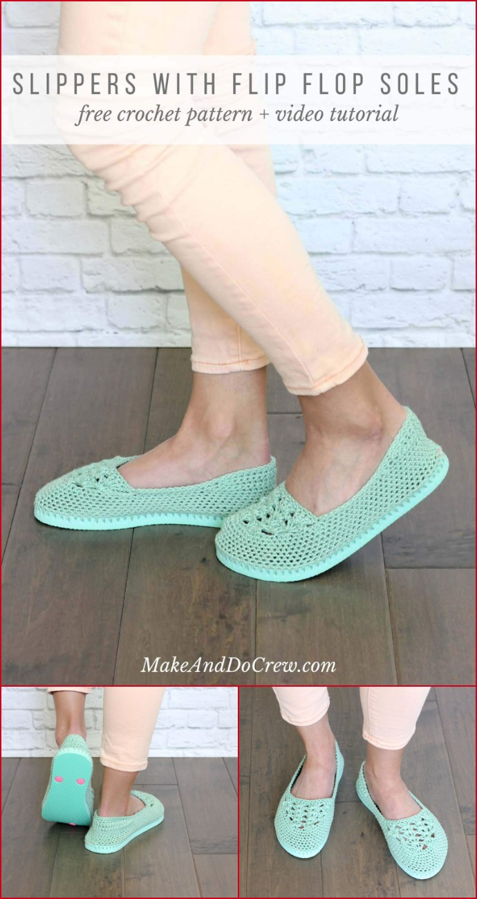 Free Crochet Slippers With Flip Flop Soles