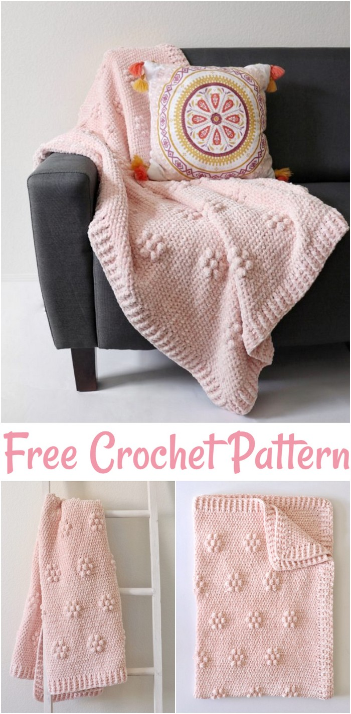 Free Crochet Velvet Flowers Throw