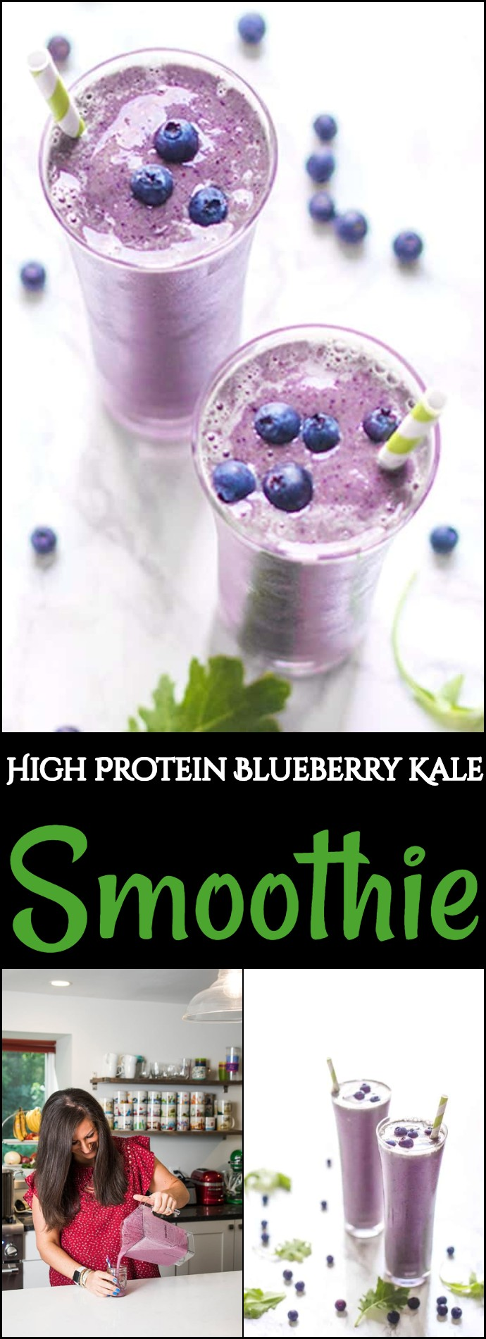 High Protein Blueberry Kale Smoothie