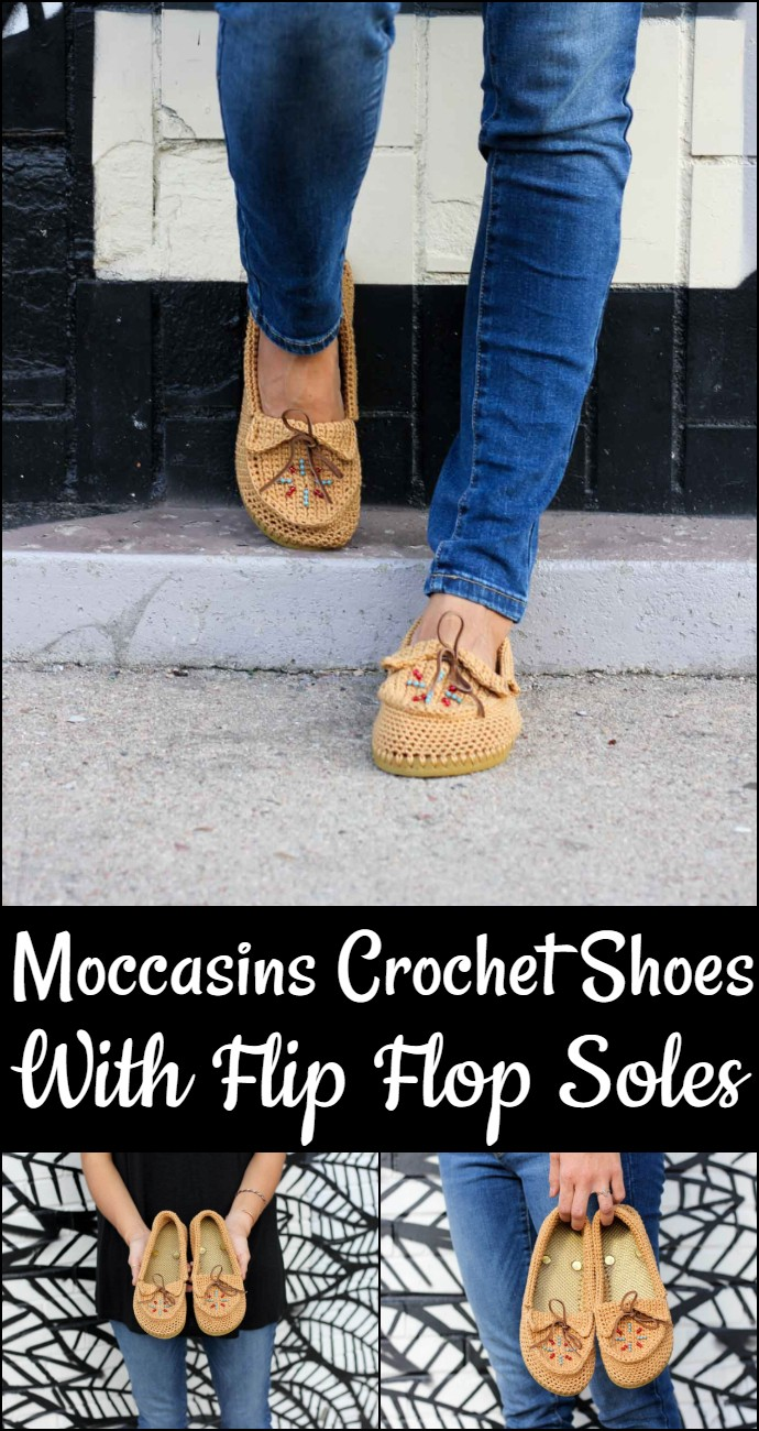 Moccasins Crochet Shoes With Flip Flop Soles