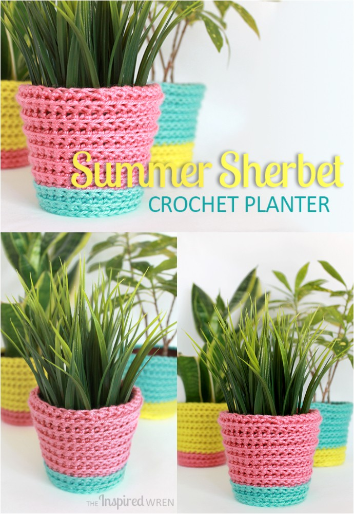 Summer Sherbet Crochet Planter Home Decor