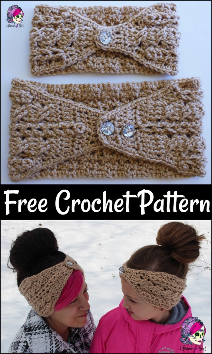 Braided Glam Cable Earwarmer Free Pattern