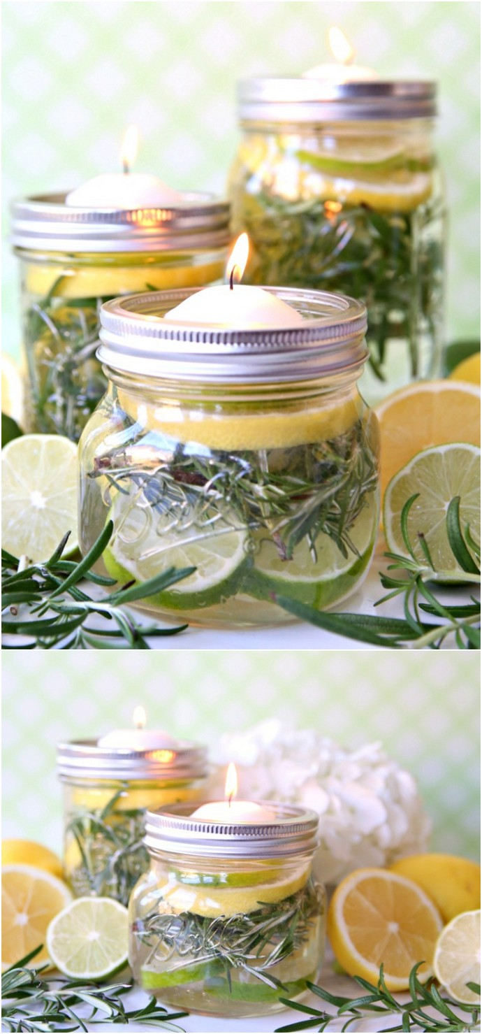 DIY Bug Repellent Mason Jar Luminaries