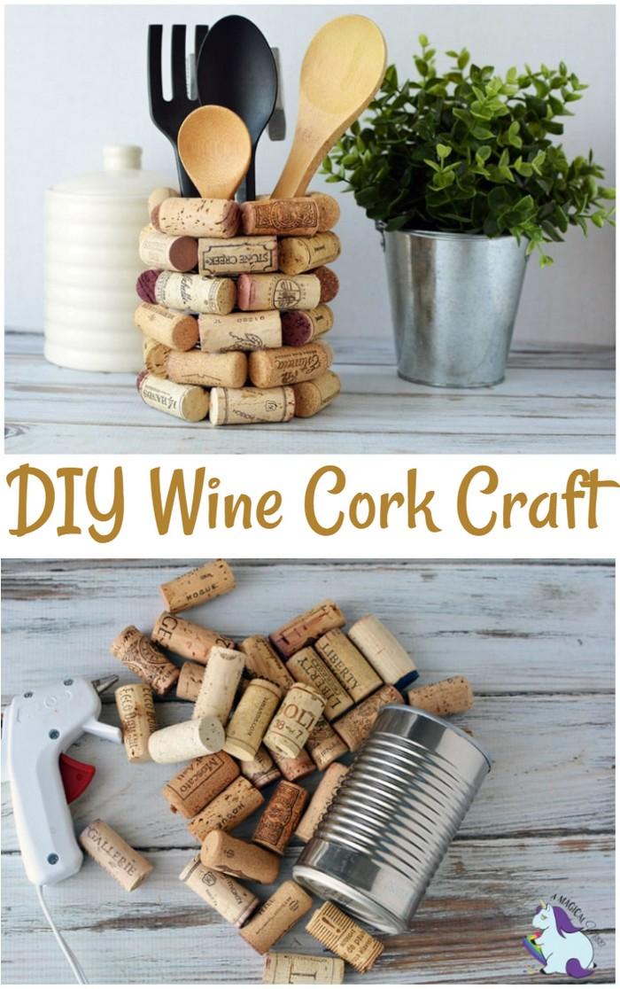 DIY Wine Cork Kitchen Utensil Holder
