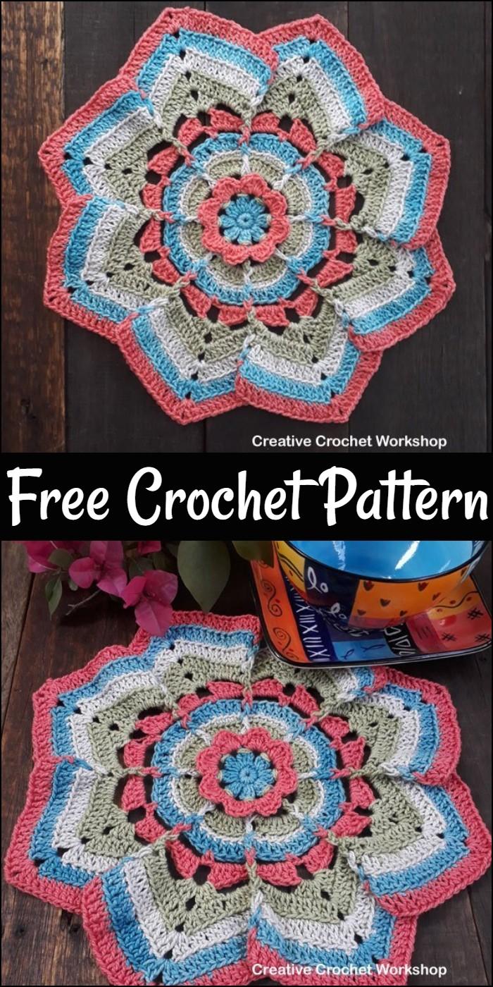 Flower Burst Potholder Free Crochet Pattern