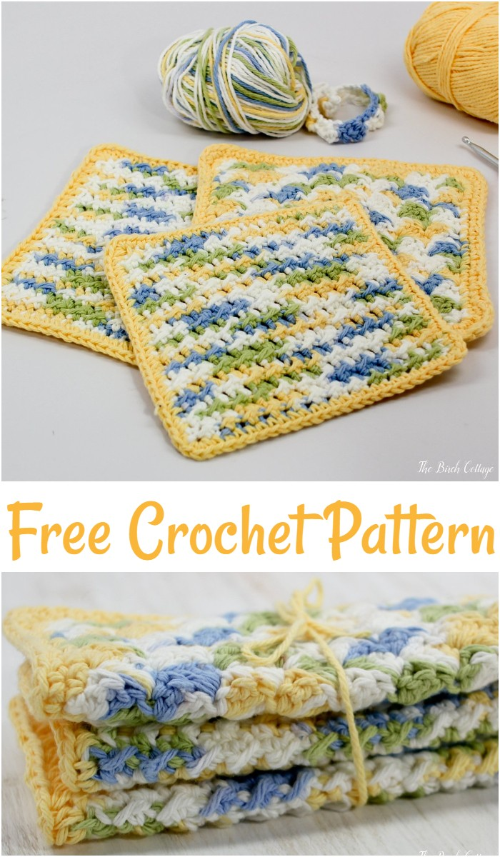Free Crochet Crunchy Stitch Dishcloth
