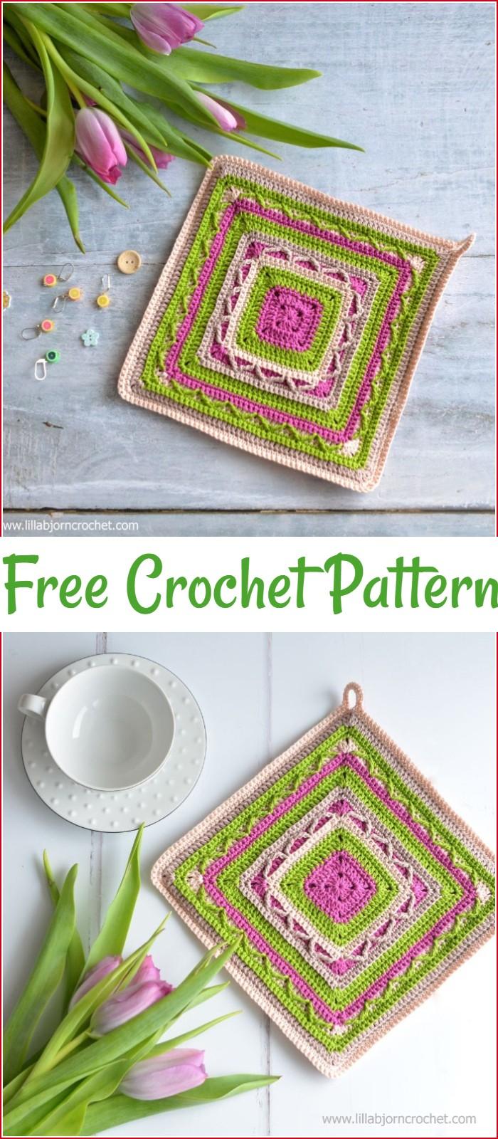 Free Crochet Potholder Art In Small 2