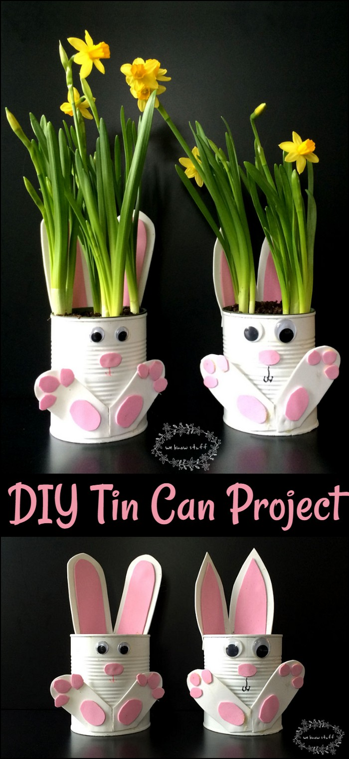 How To Make Adorable Tin Can Bunny Planters For Spring