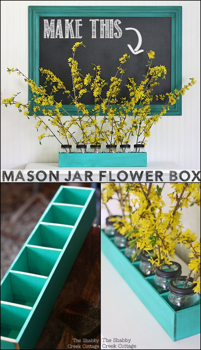 Mason Jar Flower Box Centerpiece