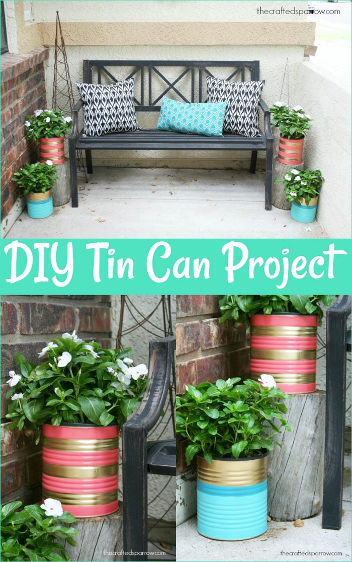 Painted Tin Can Planters
