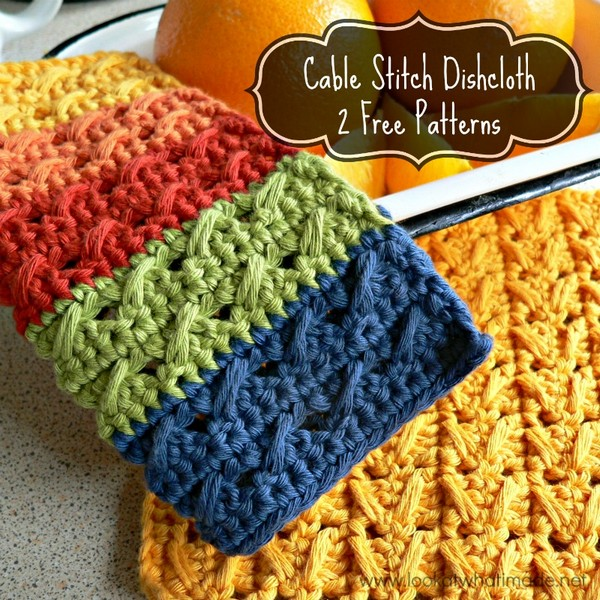 Cable Stitch Dishcloth 2 Free Patterns