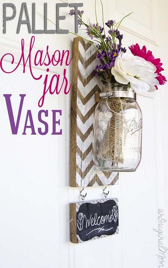 Chevron Pallet Mounted Hanging Mason Jar Vase