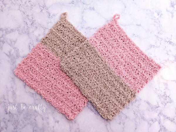 Crochet Color Block Exfoliating Washcloth Pattern